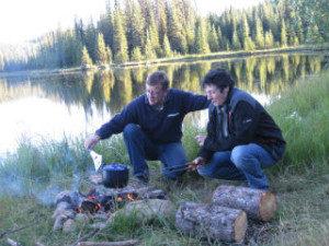 Campfire cooking at the lake