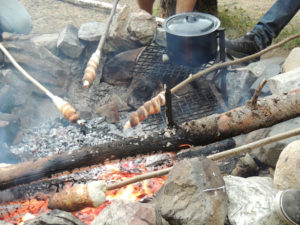 Bannock on the campfire