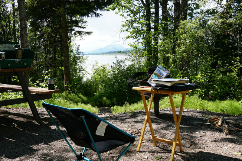 I bring along a camp chair and table in my RAV4 camper