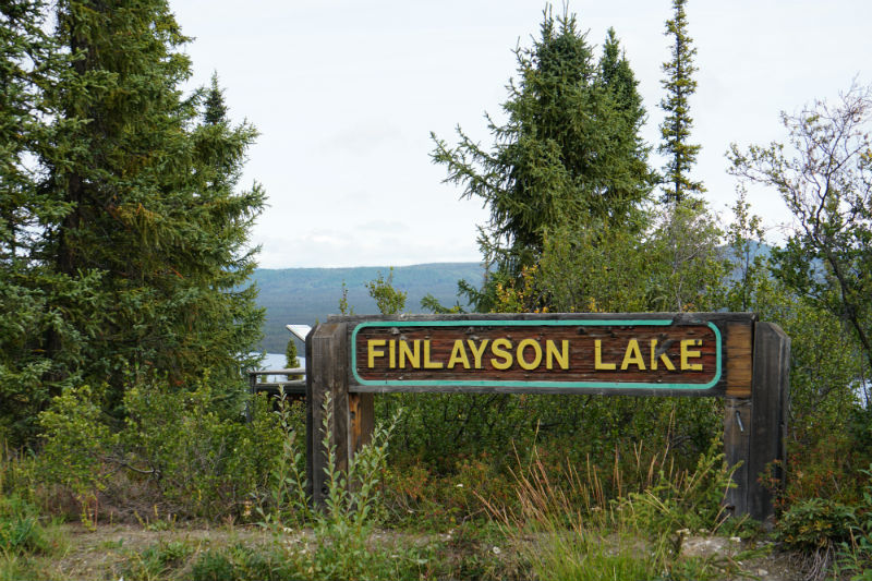 Finlayson Lake viewing platform and information Panels, Campbell Highway, Yukon