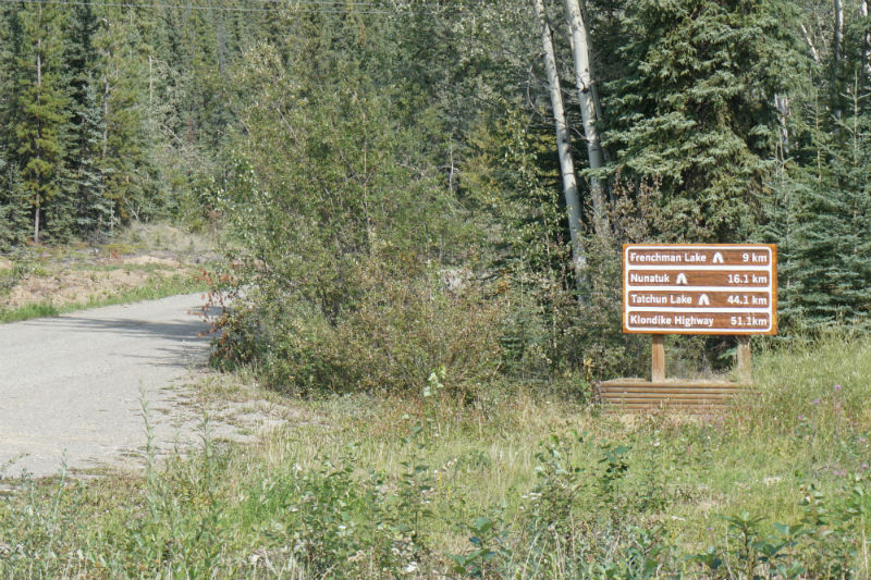 The turnoff to Frenchman Lake Road Campbell Highway