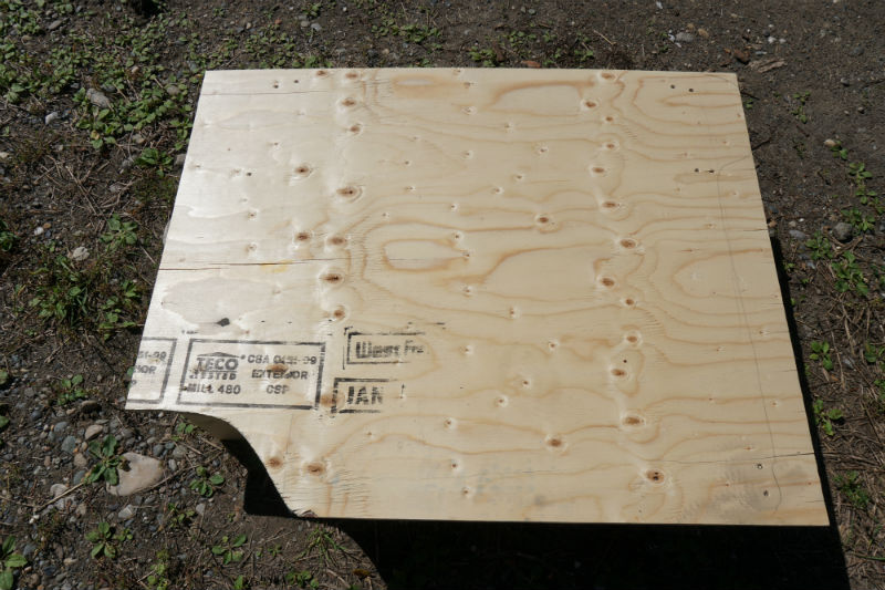 Piece of plywood with cutout for the sleeping platform