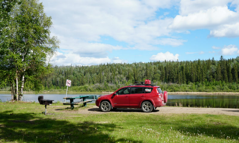 Camping at Hay Lakes Fort Liard