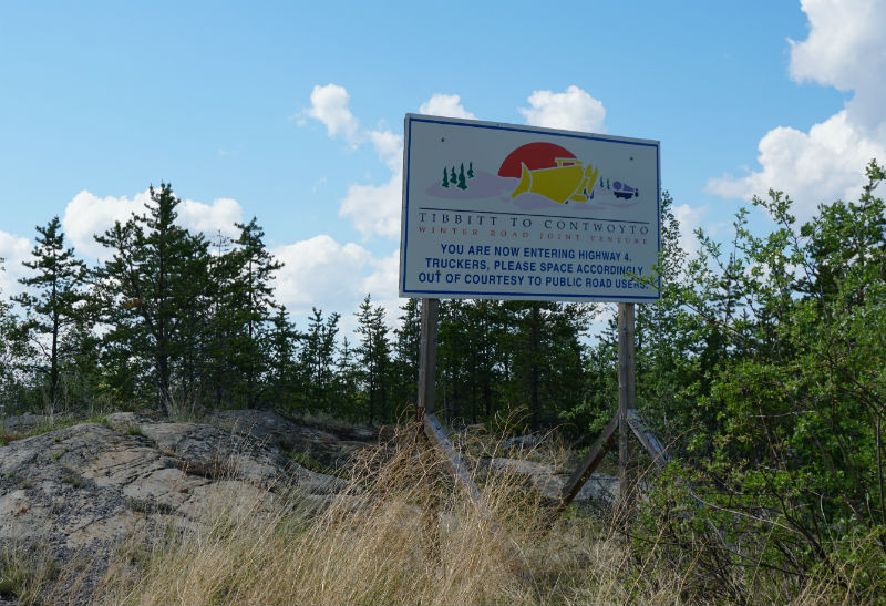 Sign for Contwoyoto ice road on Ingraham Trail NWT