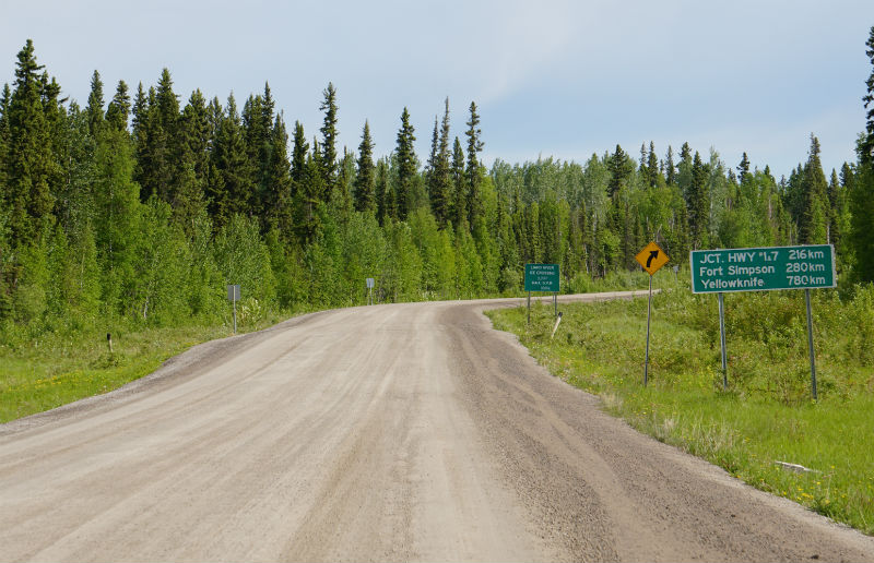 Road sign Liard Highway distance to Yellowknife