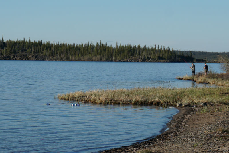 Fishing at Prelude Lake Territorial Park, Ingraham Trail, NWT