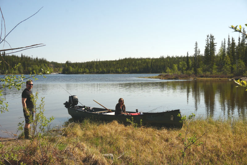 Canoeing on the lakes along Ingrahm Trail, Yellowknife