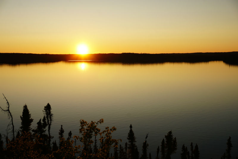 Midnight sun at Prelude Lake Ingraham Trail