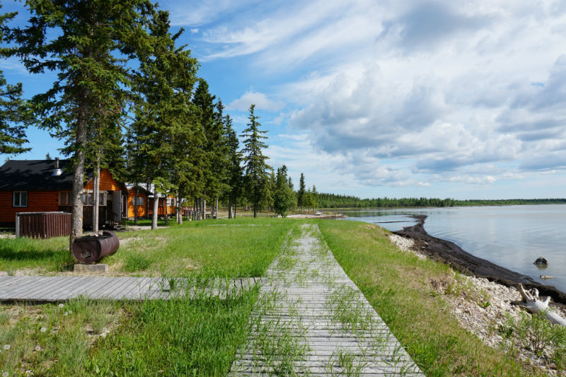 The boardwalk along the Great Slave Lake Shore from Fort Resolution to Mission Island