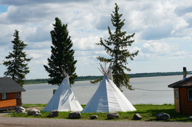 Tipis at Mission Island near Fort Resolution, NWT