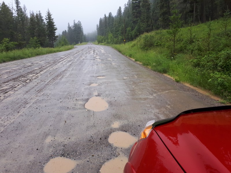 Potholes on gravel roads after the rain