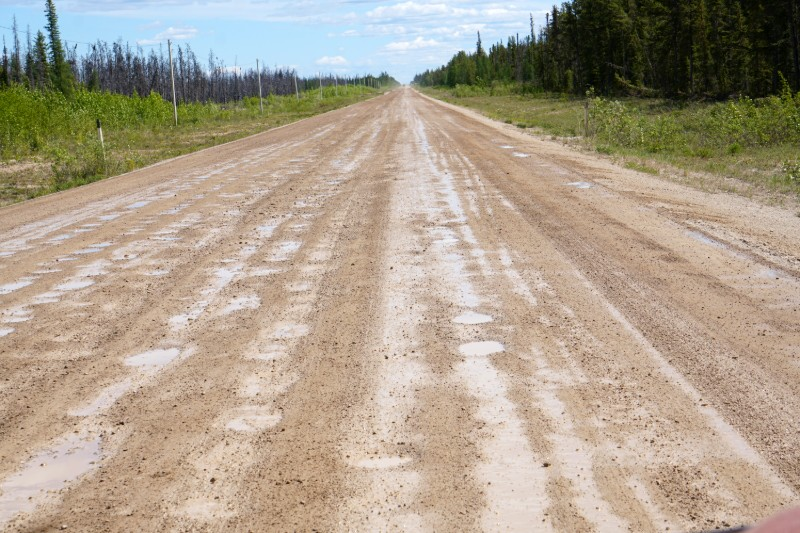 Gravel highways after the rain Canada